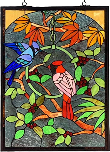 Bieye W10052 Blue Jay and Cardinal on Branches Tiffany Style Stained Glass Window Panel with Chain, Rectangle Shape, 18 W x 24 H