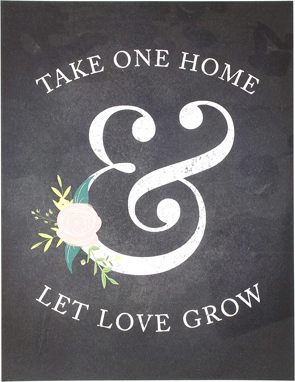 Andaz Press Wedding Party Signs, Chalkboard Pink Coral Floral Roses Print, 8.5x11-inch, Please Take One Home and Let Love Grow Plant Seed Favors Table Sign, 1-Pack