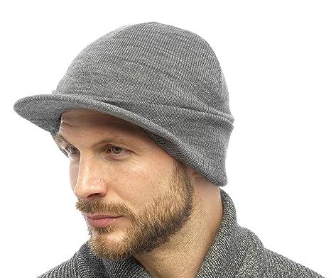 c2c5832569 RJM Tom Franks Mens Knitted Beanie Hat with Peak Silver Grey