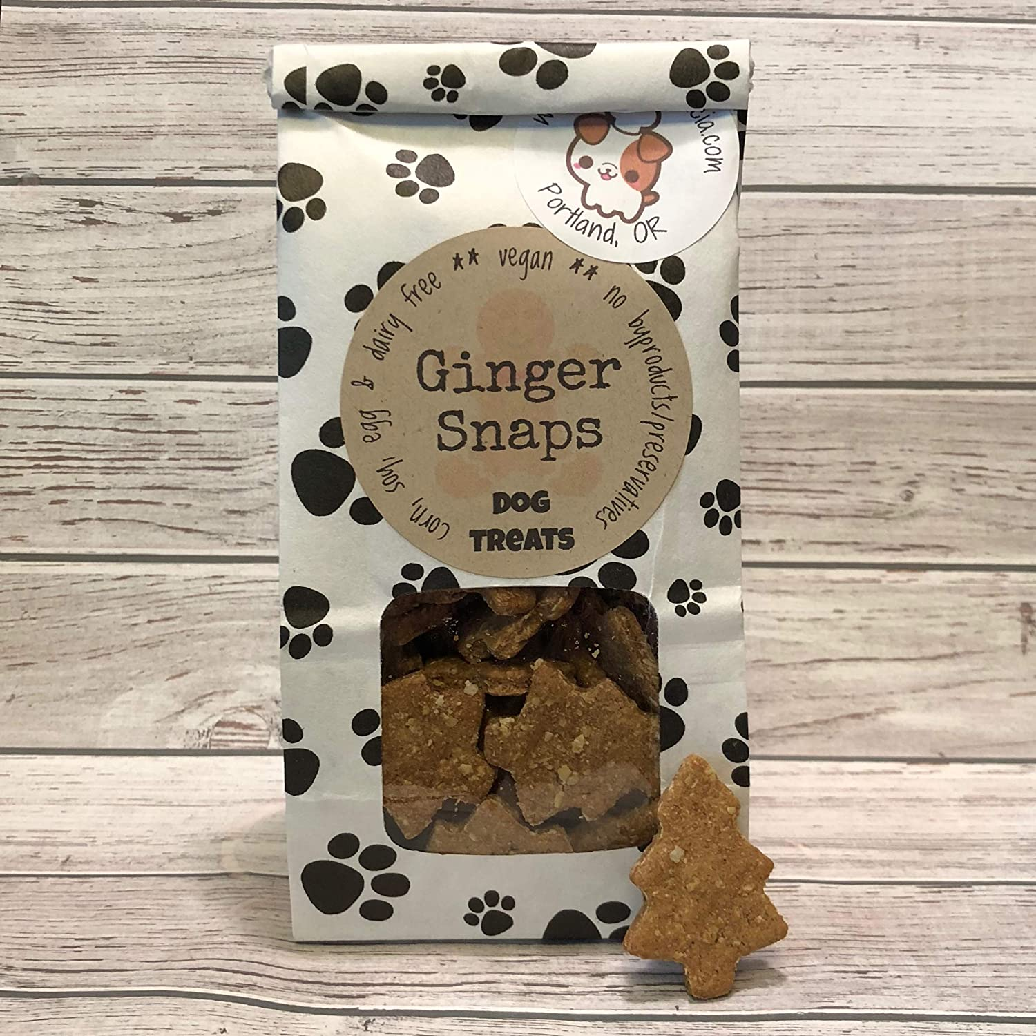 5 oz Gingersnap Dog Treats/Handmade/Corn Soy and Dairy Free/Egg Free/Vegan/No Added Preservatives, Fillers or Color