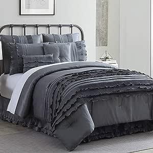 Amrapur Overseas Diana 8 Piece Embellished Comforter Set Queen Platinum Home Kitchen