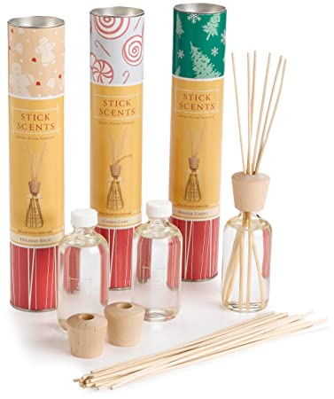 Stick Scents Diffusers, 4 Ounce Bottles, Holiday Variety Pack Of 3