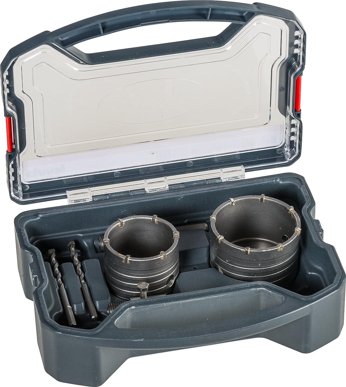 kwb Power-Box Bohrkronen-Set mit Durchmesser-Größe 68 mm und 82 mm – hartmetall-bestückt, schlagfest, inkl. – 2x Zentrierbohrer, SDS Plus u. Sechskant-Schaft 499176