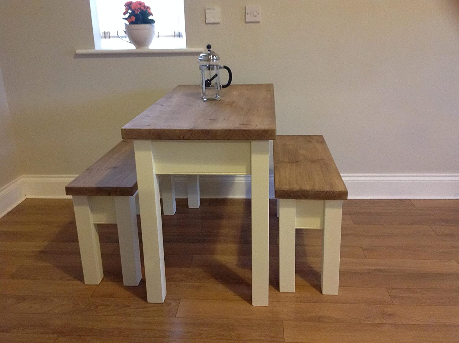 Peachy Greenhill Furniture Chunky Farmhouse Table Benches Seats 4 Lamtechconsult Wood Chair Design Ideas Lamtechconsultcom