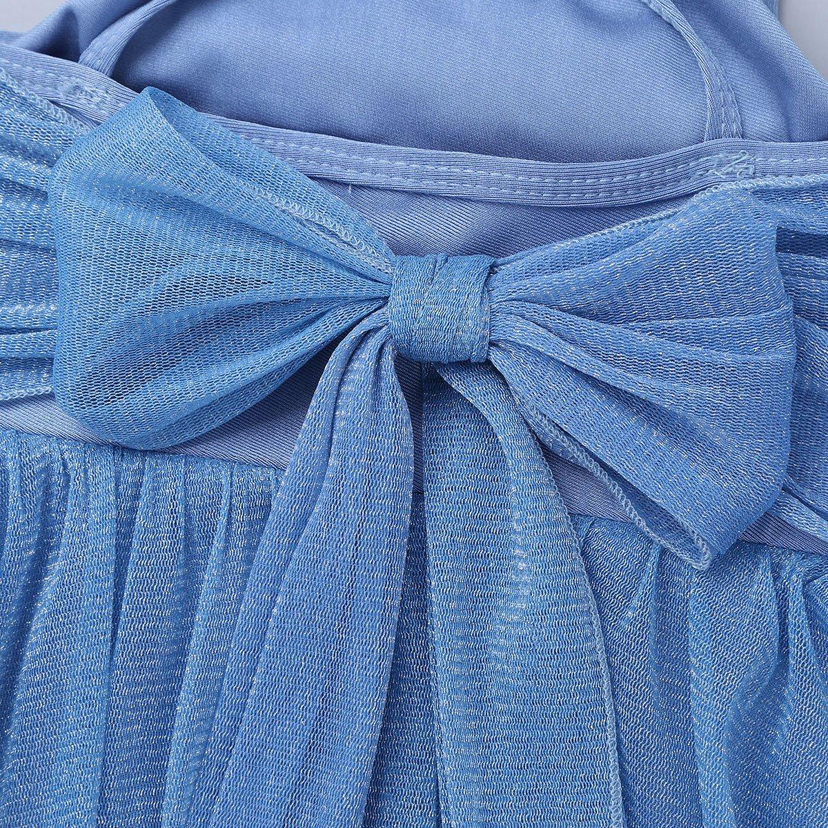 YiZYiF Girls Glittery Mesh Overlay Lyrical Dance Dress Stage Ballet Ballroom Dancing Costumes