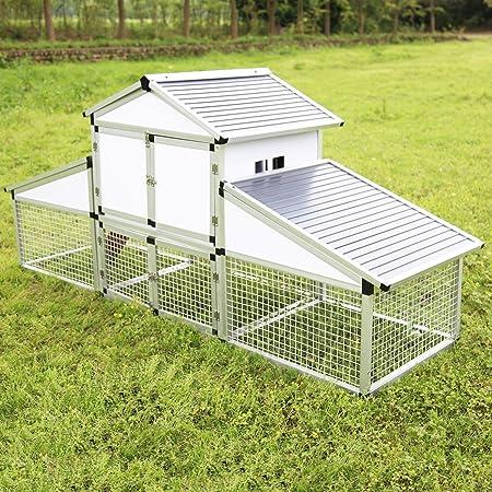 sliverylake gallinero Patio pajarera con madera de aleación de aluminio jaula de aves de corral gallinero con Run esfera huevo jaula (tamaño grande), diseño de ...