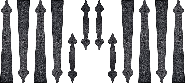 2 Pack/Set Garage Door Magnetic Decorative Hardware Carriage Accents Faux Hinges Handle Kit Curb Appeal Decor,Color Black