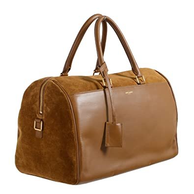43fd96f6fd0 Saint Laurent Women's Brown Calfskin Suede Leather Classic Duffle 12 Bag:  Handbags: Amazon.com