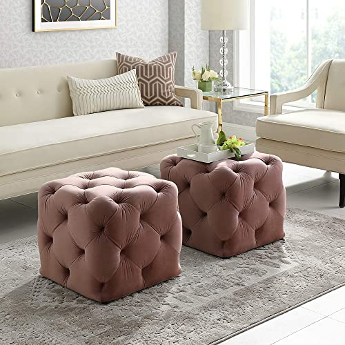 Angel Blush Velvet Ottoman