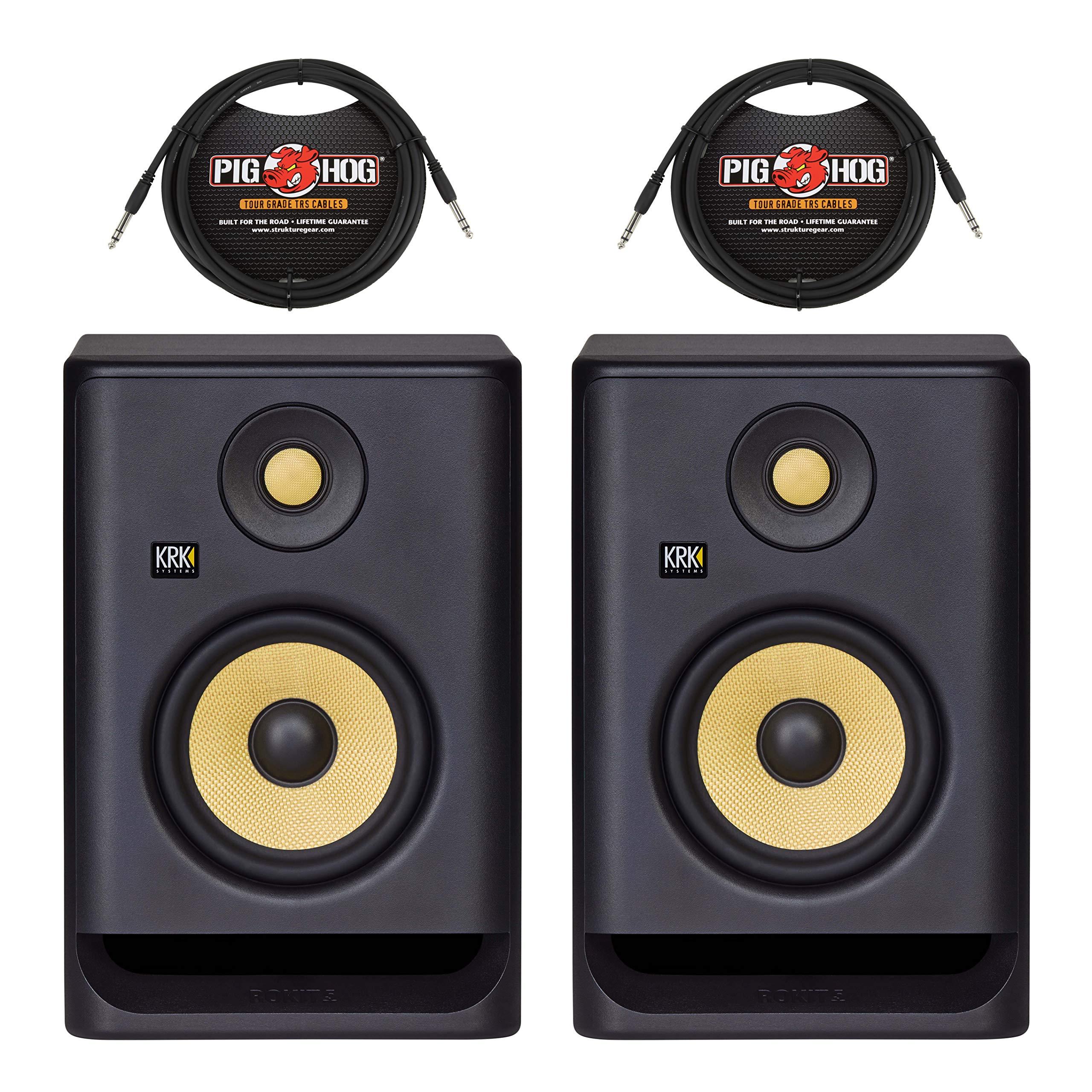 (2) KRK Rokit 5 G4 – 5″ Powered Studio Monitors + (2) 10 ft. TRS Cables