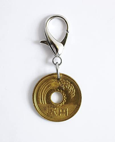 Amazon.com  Lucky Coin Bag Clip Purse Charm Japanese 5 Yen Handmade Good  Luck Key Ring  Handmade 1dae3a3bccc6