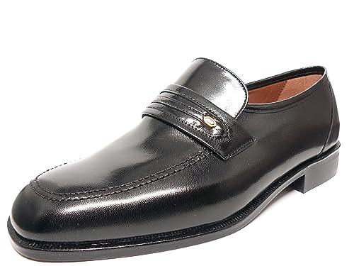 Zapato hombre mocasin vestir en piel de cabra negro marca DONATTELLI 9404 - 7: Amazon.es: Zapatos y complementos