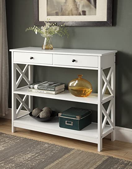 Amazon.com: White Finish 3 Tier Console Sofa Entry Table With Shelf / Two  Drawers: Kitchen U0026 Dining