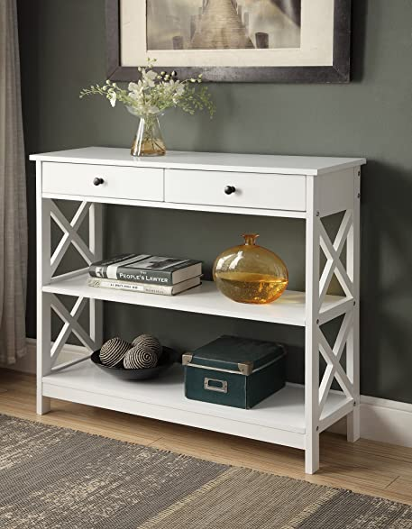 white finish 3 tier console sofa entry table with shelf two drawers - Entry Table