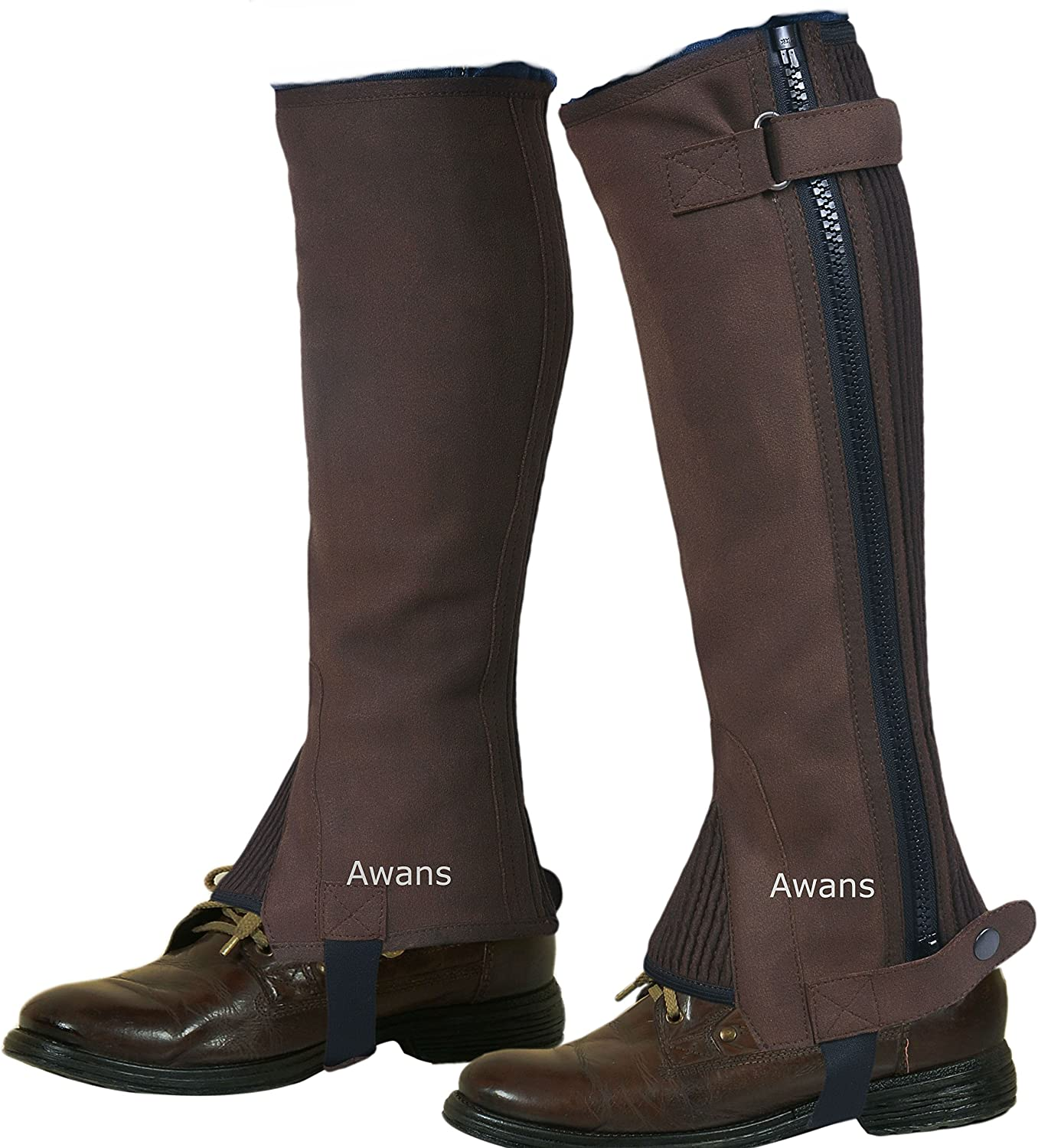 Horse Riding Half Chaps Gaitors Equestrian//New Unisex//Washable Amara Suede Leather Brown