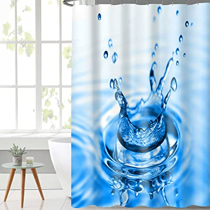 Lushomes Digital Drop Design Shower Polyester Blend Single Curtain with 12 Eyelets and 12 Hooks (71x78 Inch, 180x200cm, Multicolour)