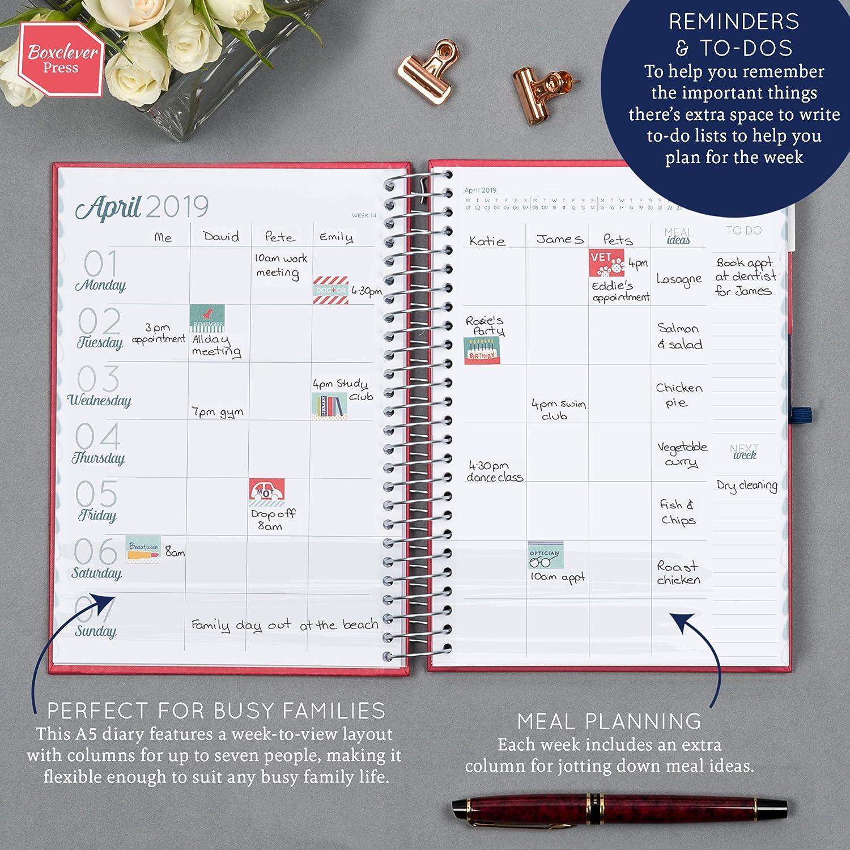 Agenda A5 2019 Family Life Book de Boxclever Press. Vista semanal. Columnas para 7 personas. Planificador de familia. Listas de compra, resumen ...