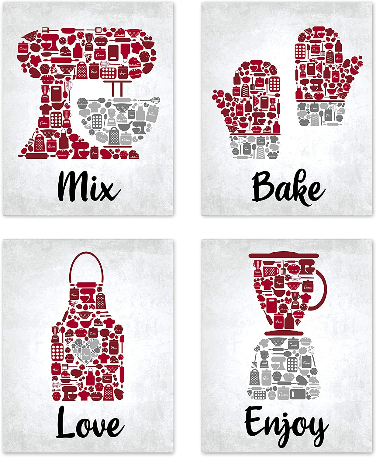 "Bake Mosaic Red Maroon Grey Retro Inspirational Restaurant Utensil Food Wall Art Chef Baking Prints Posters Signs Sets for Rustic Country Kitchen Decor Home House Decor Decoration Dining Room Funny Sayings Quotes Unframed 8"" x 10"""