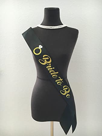 QuotBride To Bequot Black With Gold Glitter Satin Sash Bridal Shower