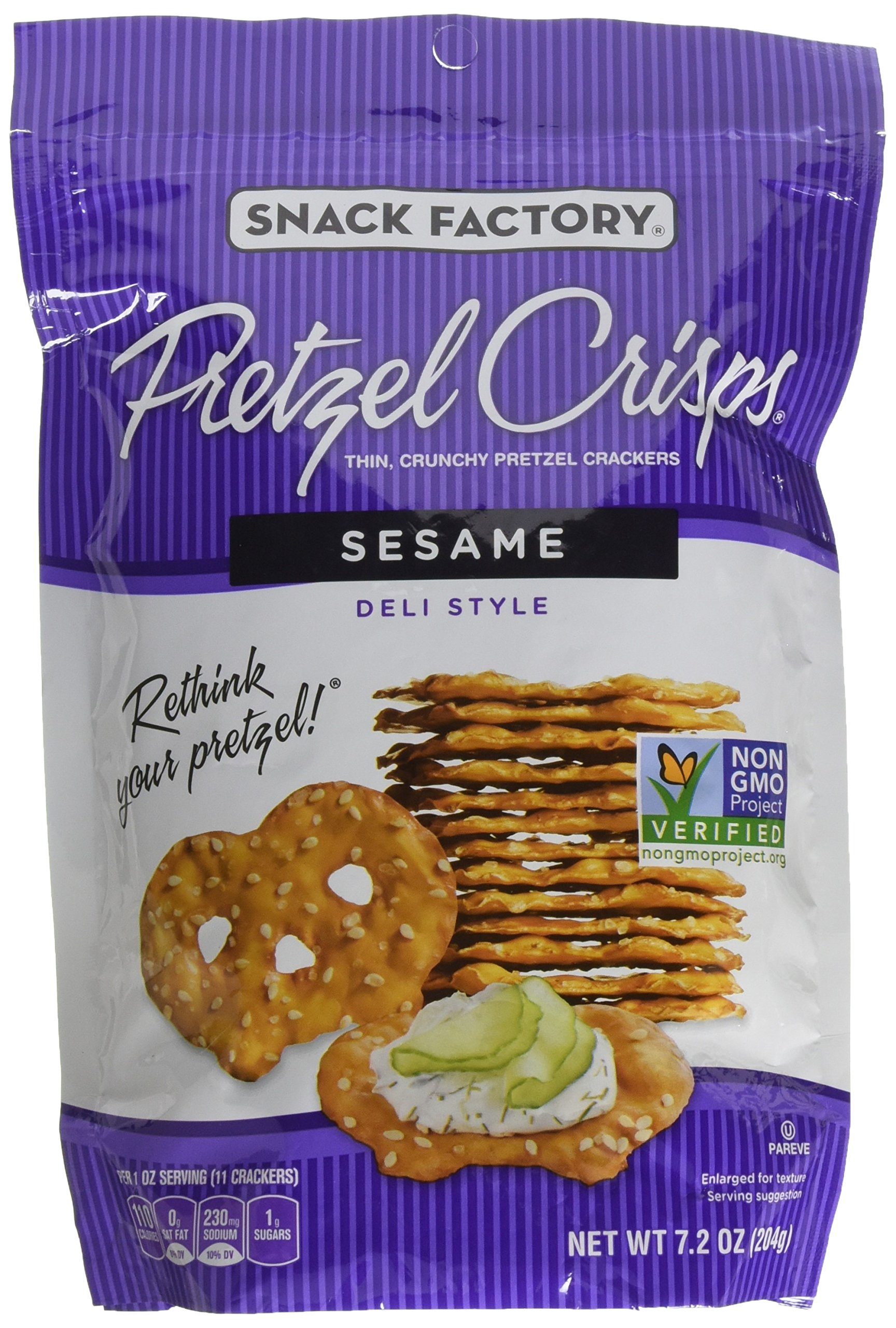 Snack Factory Pretzel Crisps Deli Style Sesame All Natural, 7.2 Ounce