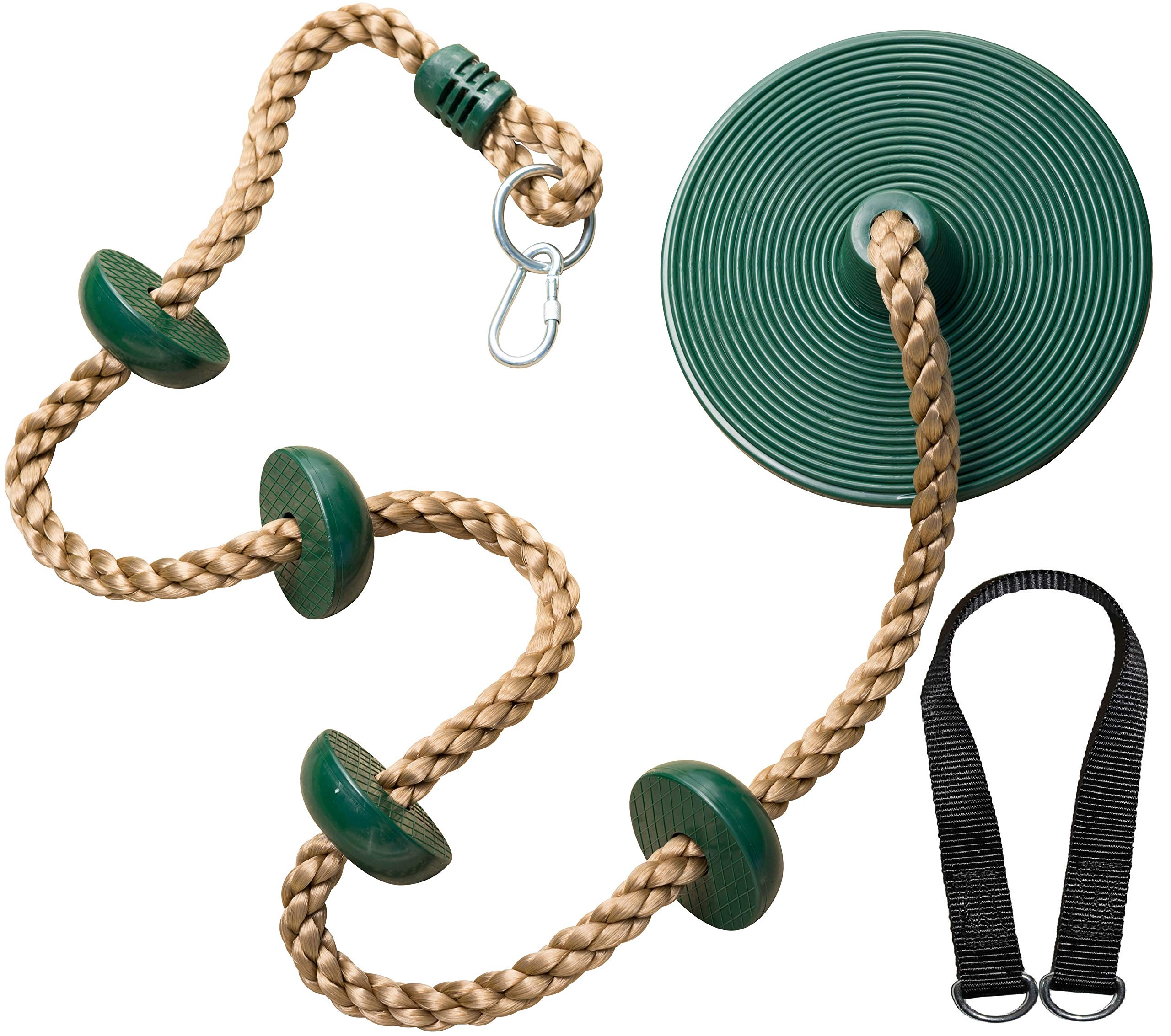 Jungle Gym Kingdom Climbing Rope with Platforms and Disc Swing Seat Green - Playground Accessories by Jungle Gym Kingdom