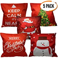 5 Decorative Pillow Covers - 5 Assorted Unique Designs Christmas Pillowcase/Throw Cushion Case for Home Decorations, 45 X 45 CM, Ideal for Xmas Parties & Decor