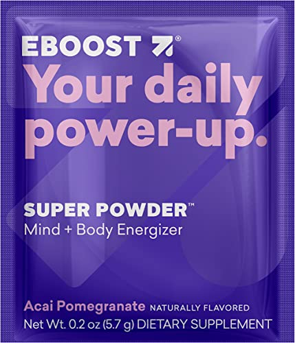 EBOOST Super Energy Powder Acai Pomegranate Drink Mix, Non-GMO Electrolyte Supplement Loaded with Vitamins, Minerals and Antioxidant for Men Women, 20 Count