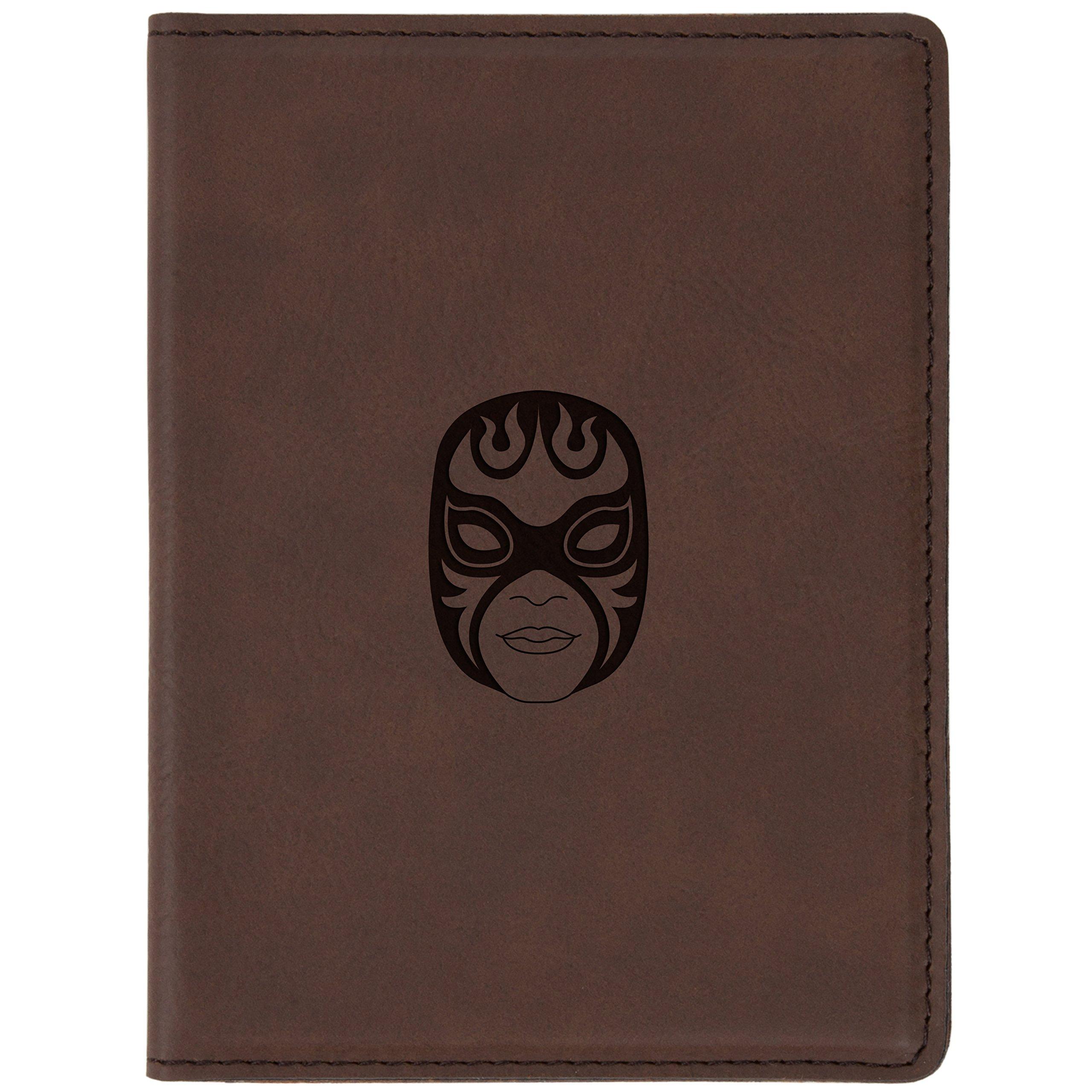 """Wrestling Mask Brown Leather Passport Holder - Laser Etched Design - 4 X 5.5"""" Engraved Passport Holder For Women And Men"""