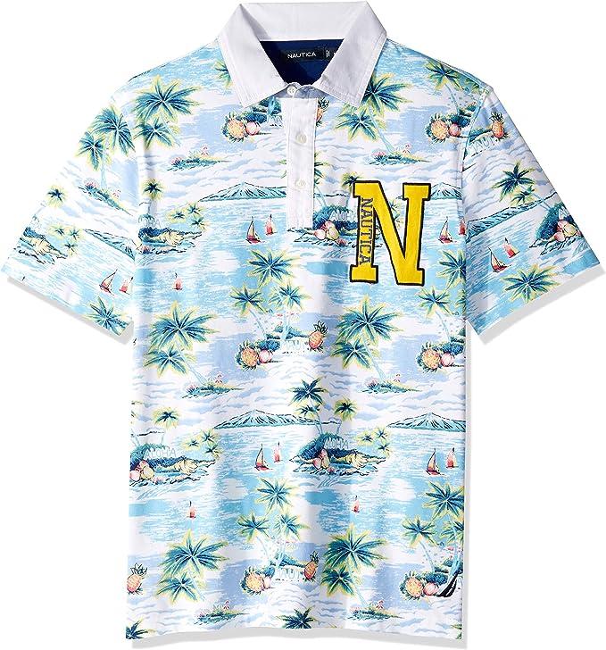 Nautica Mens Short Sleeve Aloha Island Print 100% Cotton Polo ...