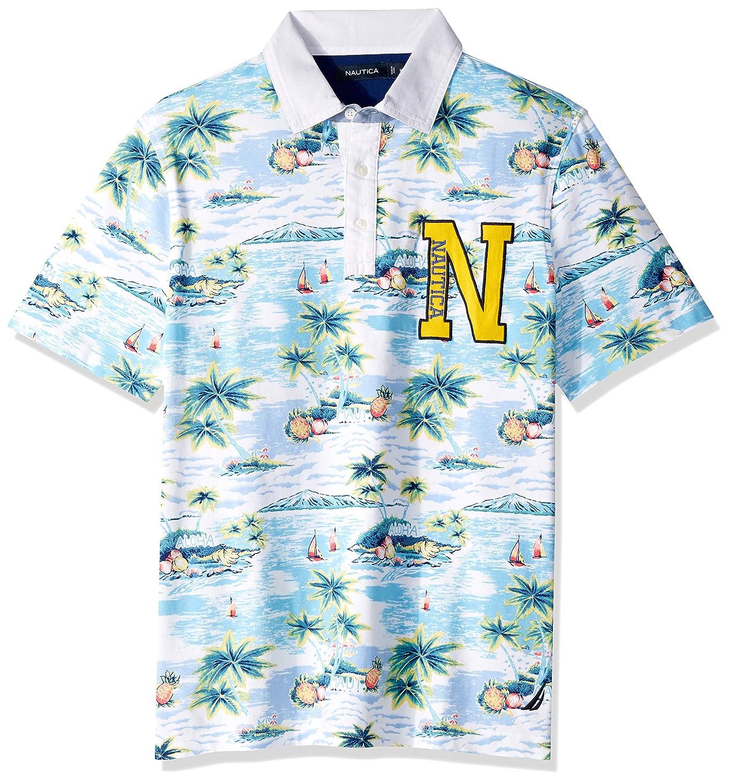 Bright blanc Taille 3XL Nautica Polo à Manches Courtes pour Homme Imprimé Aloha Island 100% Coton