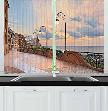 Ambesonne Italian Decor Kitchen Curtains, Dawn At Ortona Abruzzo Italy  Terrace View On The Adriatic