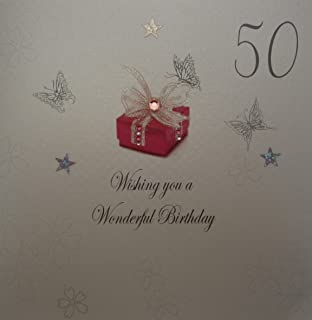 WHITE COTTON CARDS 1 Piece Wishing You A Wonderful 50th Birthday Handmade Card Red