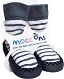 Mocc Ons Cute Moccasin Style Slipper Socks - 12-18 Months, Nautical Stripe