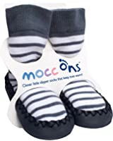 Mocc Ons Moccasin Slipper Socks Keeping Little Toes Warm! - Nautical Stripe