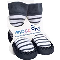 Sock Ons Mocc Ons Moccasin Style Slipper Socks for12-18 Month Babies, Nautical Stripe