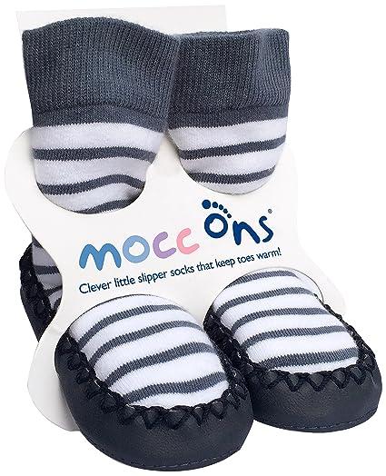Mocc Ons - Pantuflas estilo mocasín con calcetines, diseño de rayas náuticas, 18-