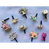 ip142-B Cute Pink Lady Handbag Crystal Anti Dust Plug Cover Charm for iPhone Android 3.5mm Ear Jack
