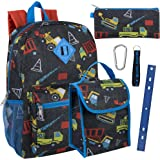Boy's 6 in 1 Backpack With Lunch Bag, Pencil Case, and Accessories