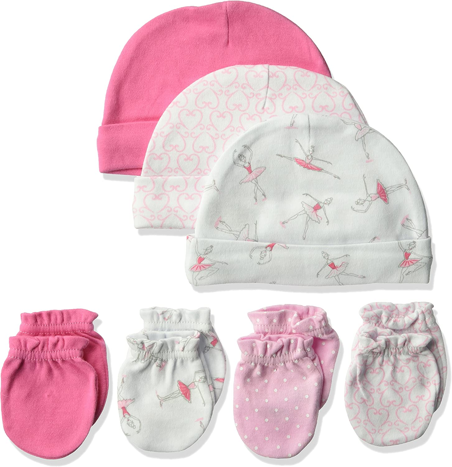 Hudson Baby Unisex Baby Cotton Cap and Scratch Mitten Set, Ballerina, 0-6 Months