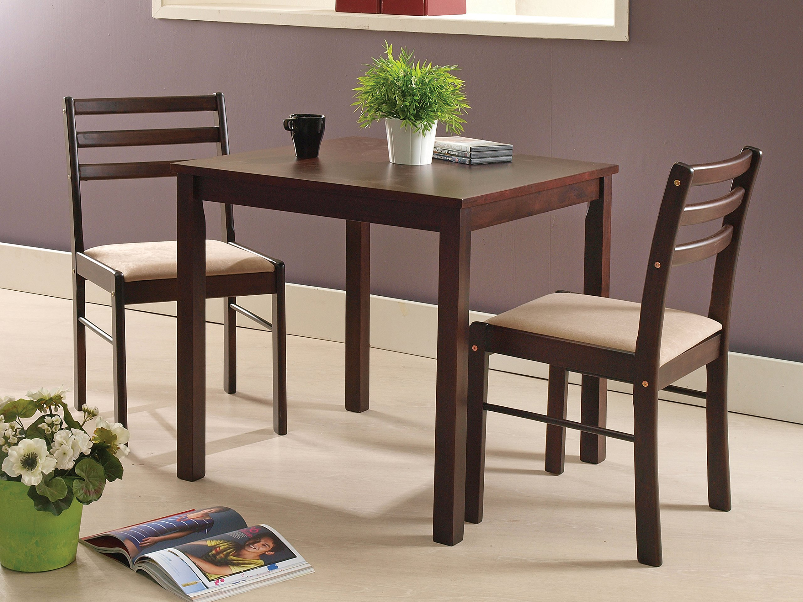 Kings Brand Furniture 3 Piece Dining Room Kitchen Dinette Set, Table & 2 Chairs by Kings Brand Furniture