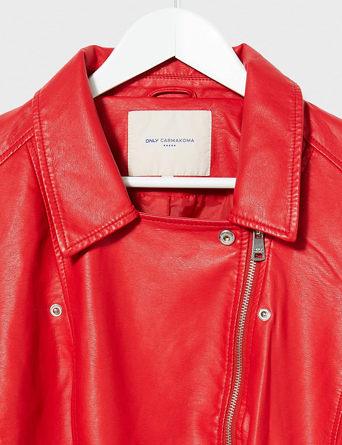 High Risk Red High Risk Red ONLY Carmakoma Womens Caremmy Faux Leather Biker Ess Jacket Red 18 Size: 44