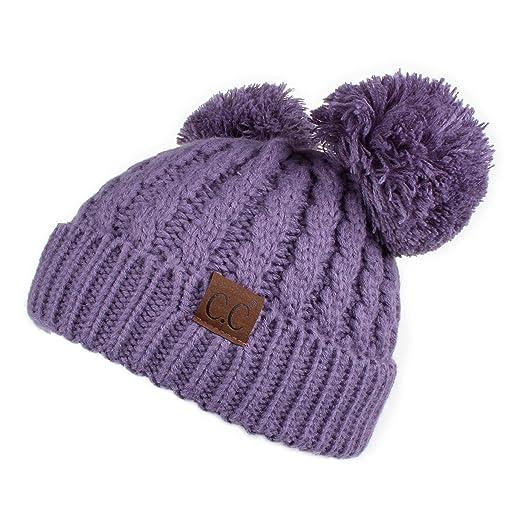 9e1c456577174e Hatsandscarf CC Exclusives Cable Knit Double Pom Winter Beanie(HAT-60) ( Violet