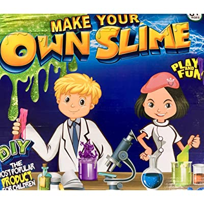 Slime Kit Lab Jumbo DIY 6 Batches of Includes Ingredients and Supplies for 6 Different Batches of, Glow In The Dark, Neon colors: Toys & Games
