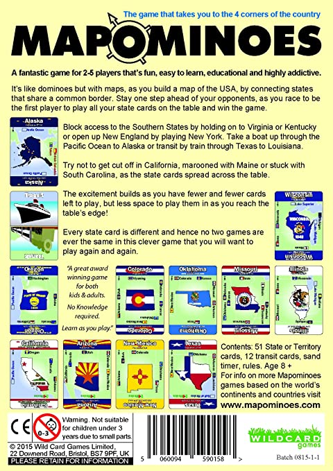 MAPOMINOES USA The Ultimate Geography Game Fun Educational - Us map without border game