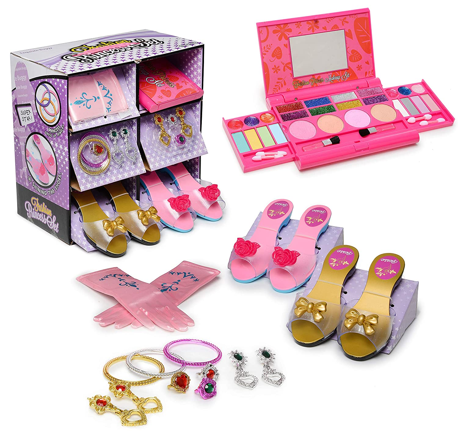 My First Princess Makeup Set WASHABLE with Mirror and Dress Up Role Play Collection - Includes 2 Shoe set and, 1 set Pink Princess Gloves and Jewelry Boutique - SAFETY TESTED- NON TOXIC B075M337J6