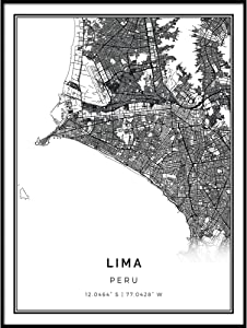 Squareious Lima map Poster Print | Modern Black and White Wall Art | Scandinavian Home Decor | Peru City Prints Artwork | Fine Art Posters 8.5x11