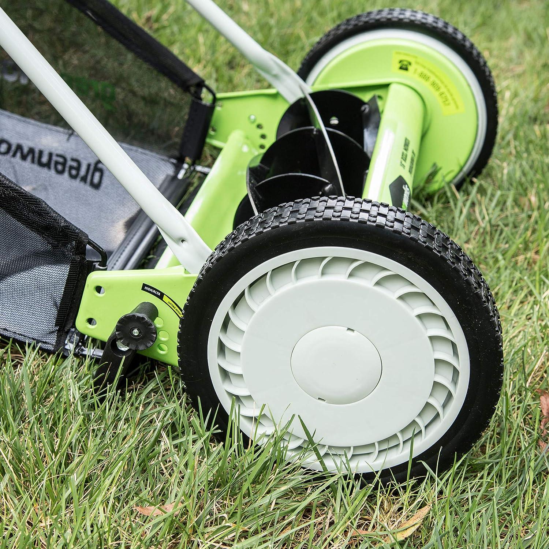 GreenWorks 25062 18-Inch Reel Lawn Mower with Grass Catcher Patio ...