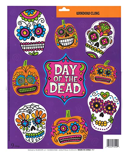 Amazoncom Halloween Window Clings Skulls Cholo Day Of The Dead