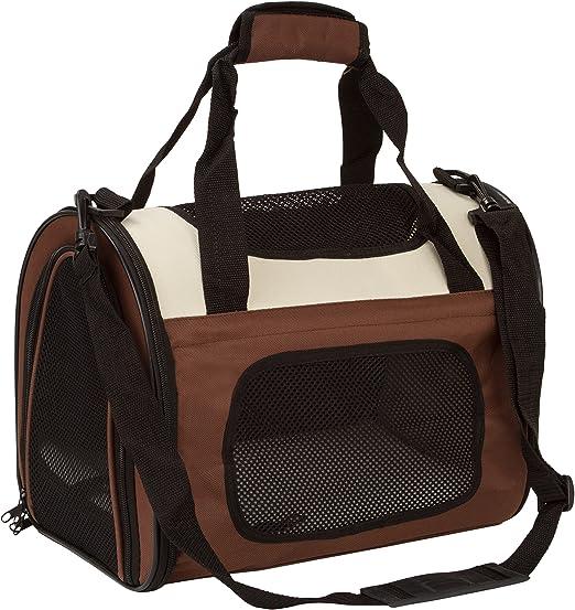 BabycarePro Plegable Transportín Gato para coche Portador Perro Elegante para avión Bolso de viaje para mascotas con estera y lados suaves, Marrón: Amazon.es: Productos para mascotas
