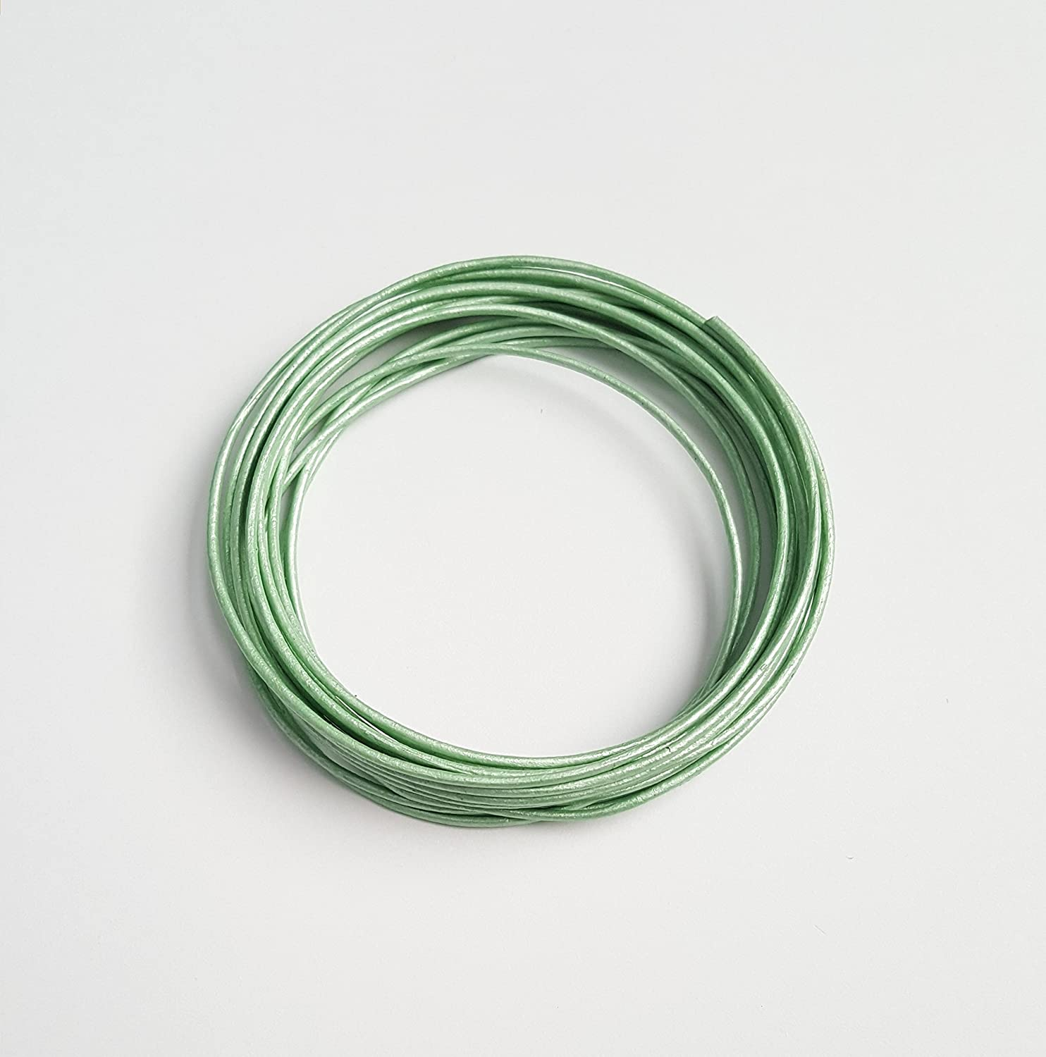 Round Leather Cord Metallic Light Green 1mm 10meters Spool Is Not Included